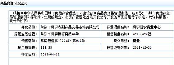 梅李新农商业中心2015-04-15通过预售许可审批