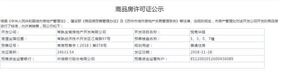 悦隽华庭1、3、5、7幢2018-11-28通过预售许可