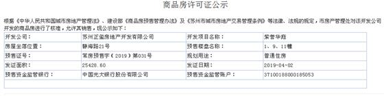 紫誉华庭1、9、11幢2019-04-02通过预售许可