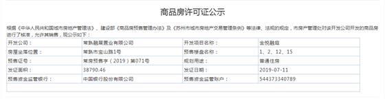金悦融庭1、2、12、15幢2019-07-11通过预售许可