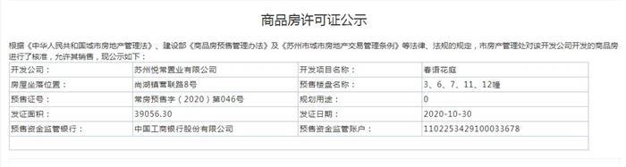 春语花庭3、6、7、11、12幢2020-10-30通过预售许可