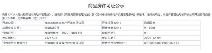 凤栖云筑9、10幢2020-12-09通过预售许可