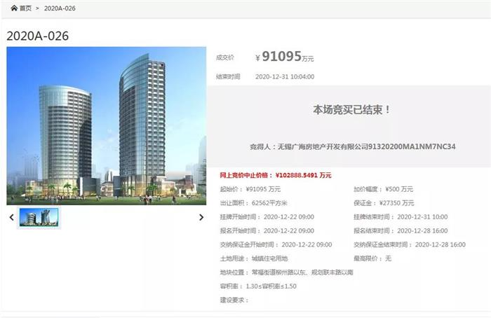 常熟2020压轴土拍收官:底价成交!9707元/㎡ 无锡广海首入常熟