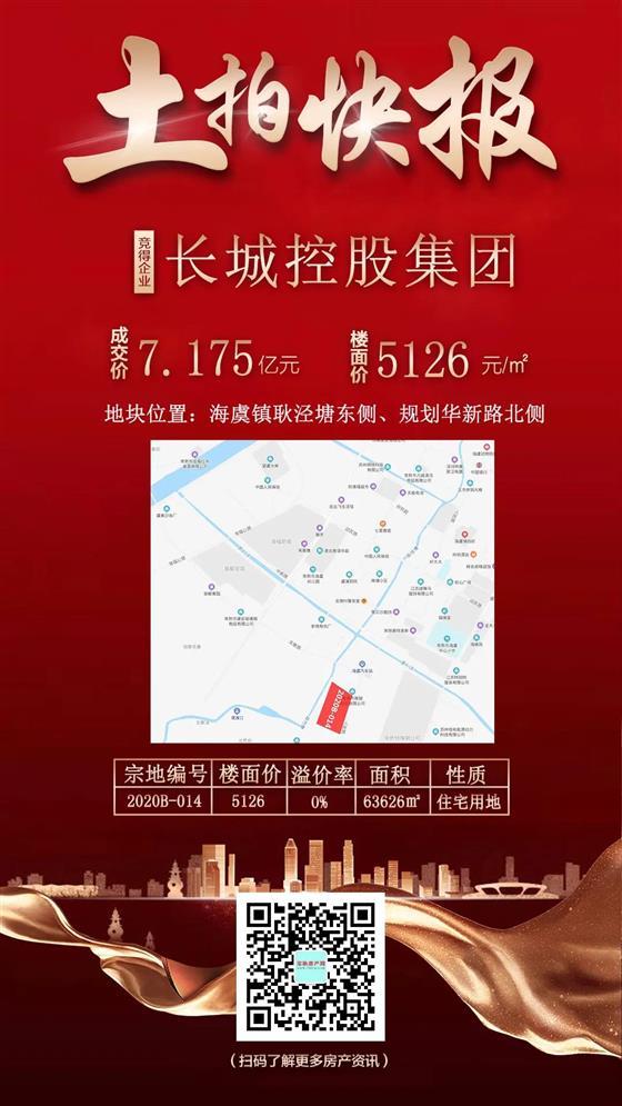 一轮游:底价成交,长城控股7.175亿竞得海虞地块