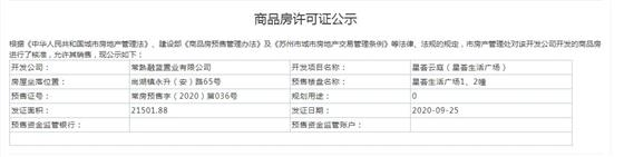 星荟云庭(星荟生活广场)1、2幢2020-9-25通过预售许可