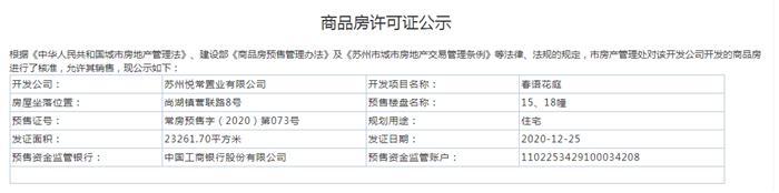春语花庭15、18幢2020-12-25通过预售许可