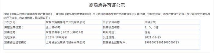 凤栖云筑1、3、5、6幢2021-03-25通过预售许可
