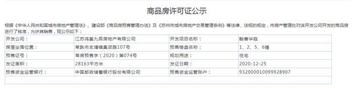 翰香华庭1、2、5、6幢2020-12-25通过预售许可